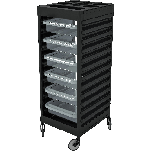 Easy Trolley Blk - Transparent Drawers